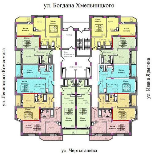 План этажа в 17 этажке от Власта Инвест