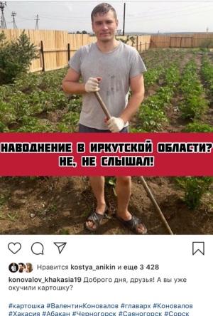Коновалов окучивает картошку